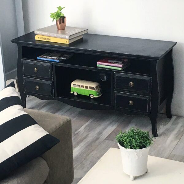 mueble tv vintage 1,20 negro