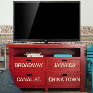 Mueble vintage Subway rojo. APTO TV