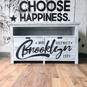 Mueble vintage Brooklyn estampado Blanco